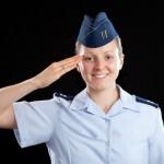 Woman saluting